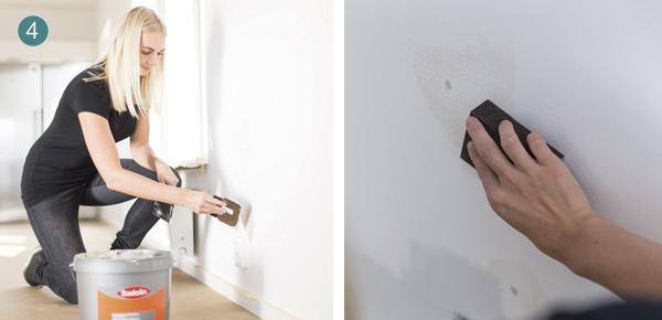 Spartling af vægge med rulle